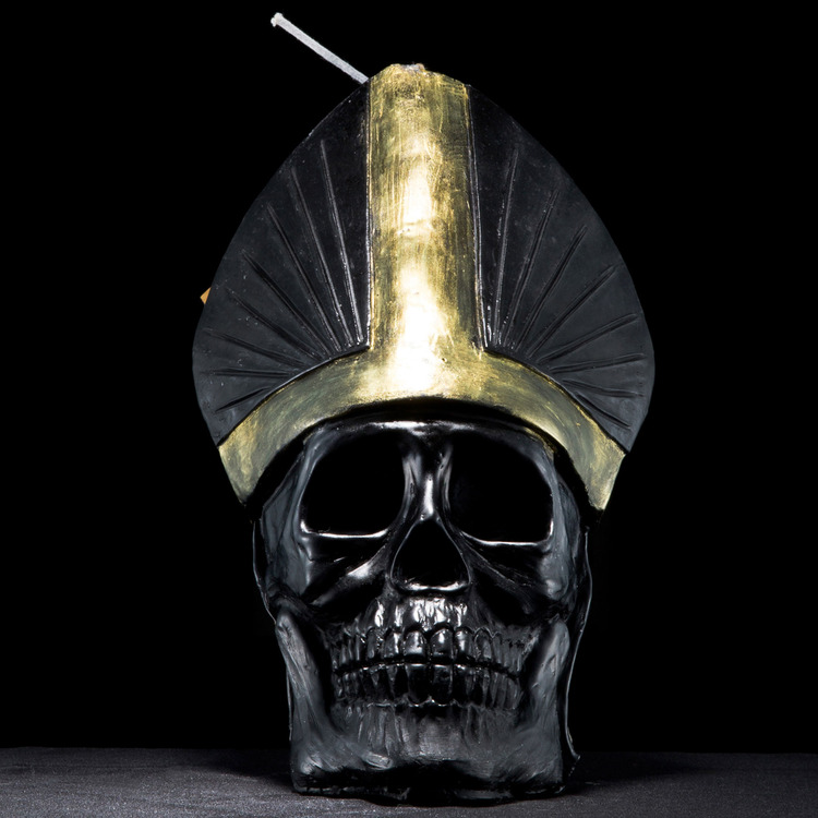 SKULL POPE CANDLE BK