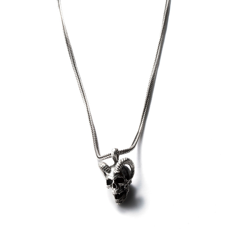 HORN SKULL CHAIN NECKLACE (80cm)