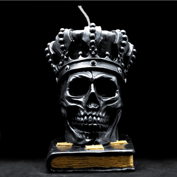 SKULL CROWN  CANDLE BK