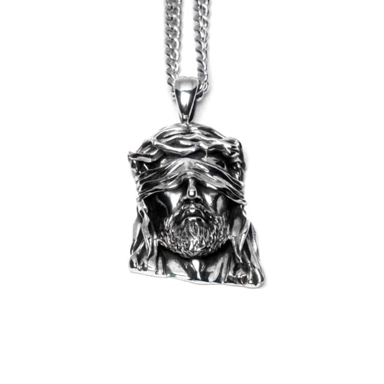 JESUS SILVER NECKLACE (BIG SIZE) (80cm)