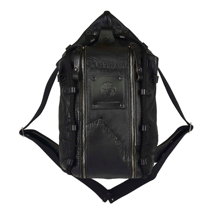 STITCH PATCH LEATHER BACK BAG